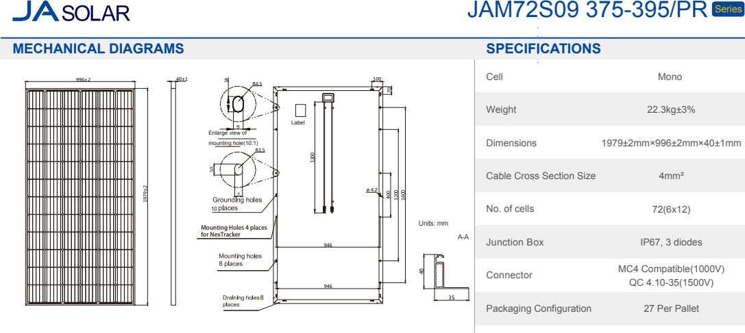 JAM72S09 375-395/PR Series MECHANICAL DIAGRAMS SPECIFICATIONS Cell Mono 996±2 40±1 100 R4.5 Weight 22.3kg±3%