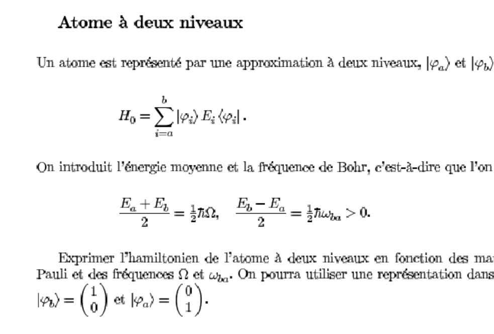 des sciences, Université Henri Poincarré, Nancy, France Exercice de physique atomique n° 2 de l'examen du