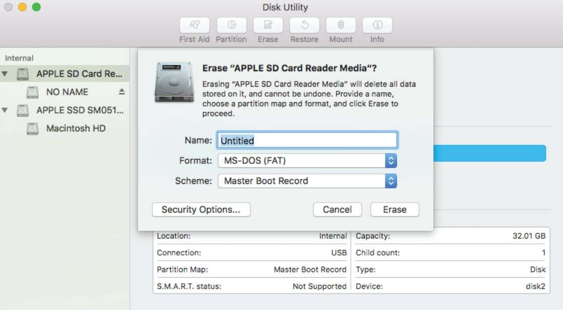 Disk Utilities Select Erase, set up the following settings: After formatting your card should be ready
