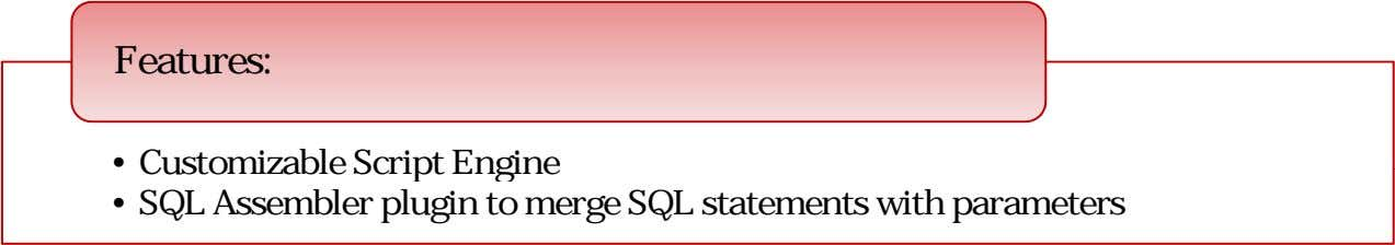 Features: • Customizable Scri t Engine • SQL Assembler plugin to merge SQL statements with