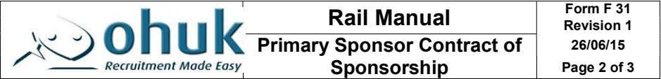 Rail Manual Form F 31 Revision 1 Primary Sponsor Contract of Sponsorship 26/06/15 Page 2