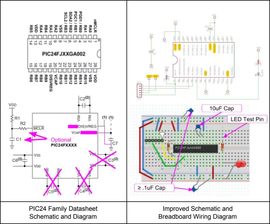 PIC24 Family Datasheet Schematic and Diagram Improved Schematic and Breadboard Wiring Diagram