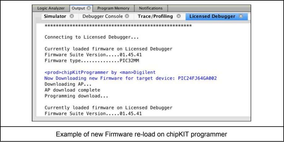 Example of new Firmware re-load on chipKIT programmer