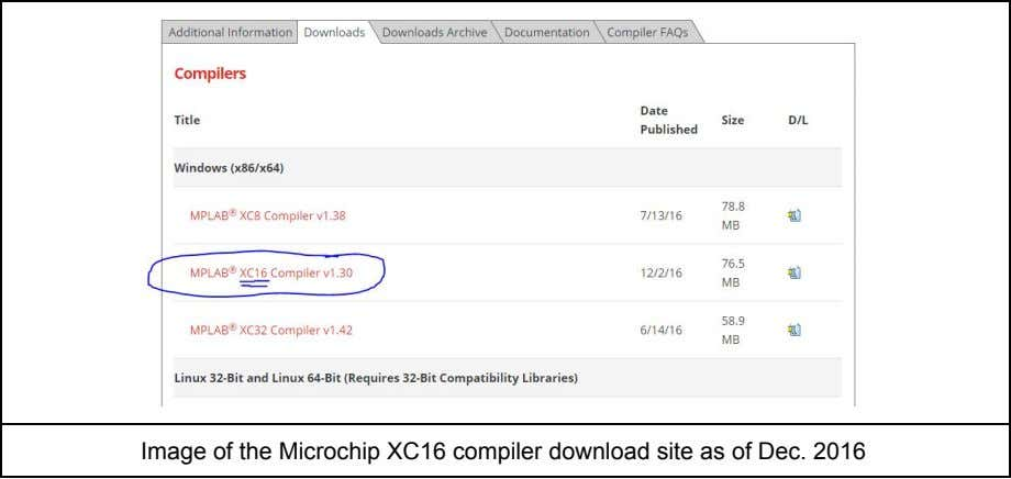 Image of the Microchip XC16 compiler download site as of Dec. 2016