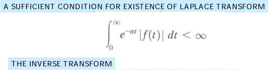 A SUFFICIENT CONDITION FOR EXISTENCE OF LAPLACE TRANSFORM THE INVERSE TRANSFORM