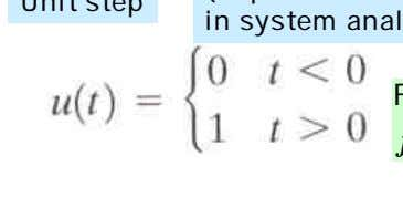 "(Important ""test"" function in system analysis) Unit step For positive time functions f ( t )"