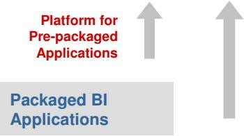 Platform for Pre-packaged Applications Packaged BI Applications