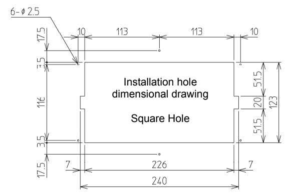 Installation hole dimensional drawing Square Hole