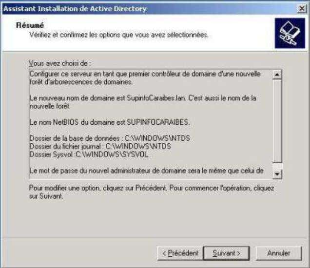 le processus d'installation d'Active Directory. Le processus d'installation est lancé. Une fois