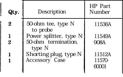 HP Part Description Number 50-ohm tee, type N to probe Power splitter, type N 50-ohm