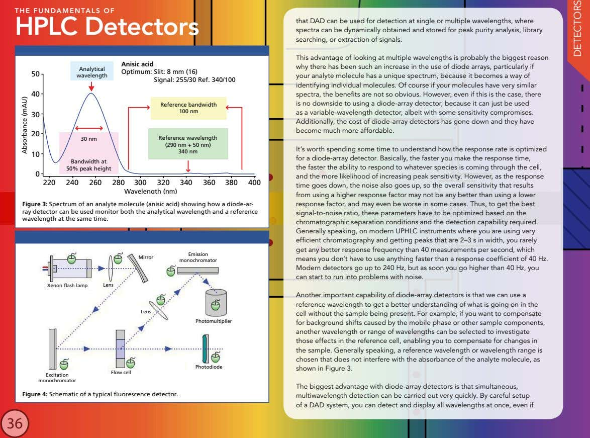 THE FUNDAMENTALS OF HPLC Detectors that DAD can be used for detection at single or