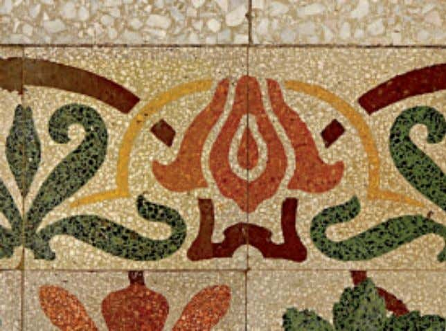 Hydraulic tiles from the Belém Museum of Art with several Art Nouveau motifs, highlighted by