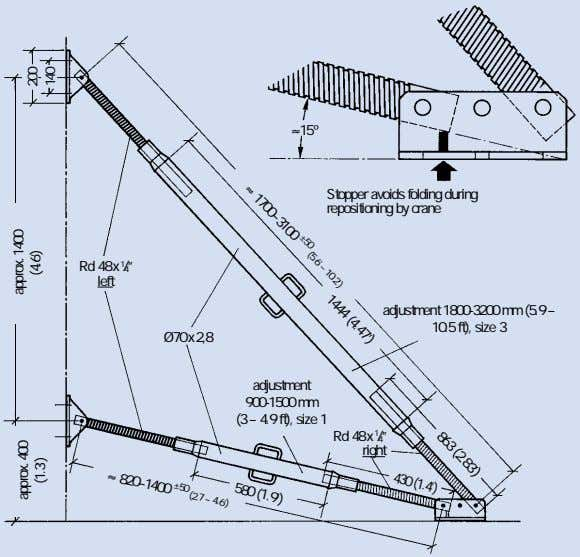 ≈15º Stopper avoids folding during repositioning by crane ≈ 1700–3100 ±50 (5.6' – 10.2') 1444