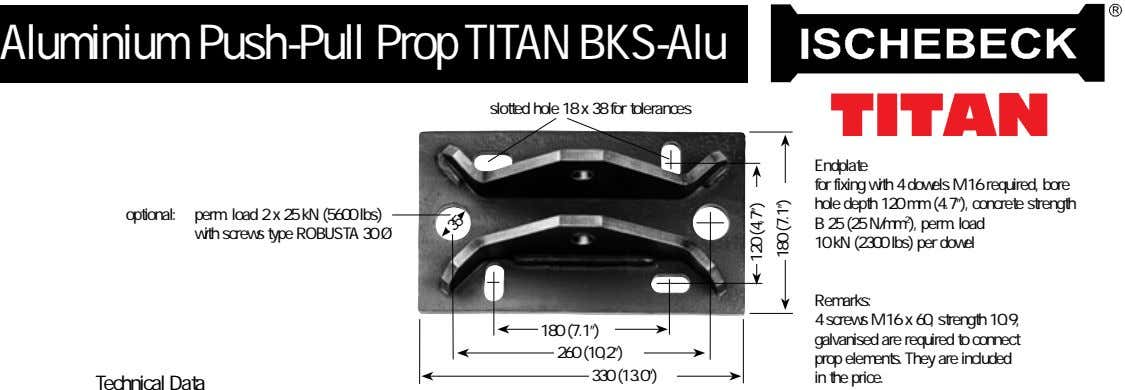 Aluminium Push-Pull Prop TITAN BKS-Alu slotted hole 18 x 38 for tolerances Endplate for fixing
