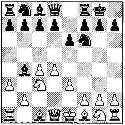 the typical Nimzo-Indian pawn structure. 5 9 8 7 6 5 4 3 2 1 a