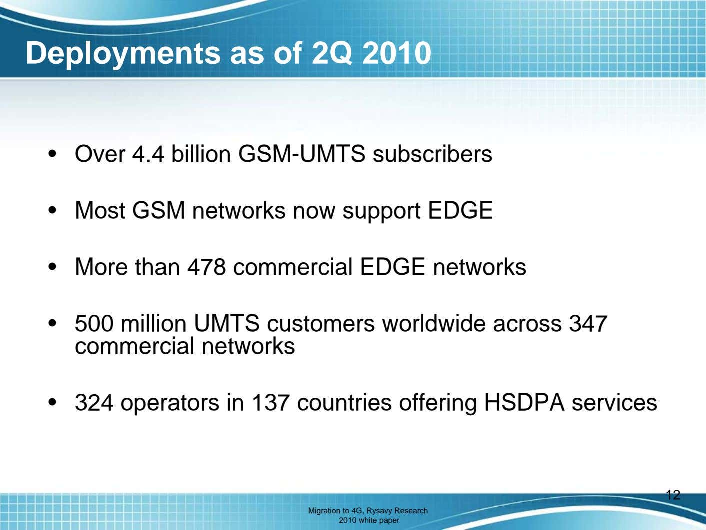 Deployments as of 2Q 2010 • Over 4.4 billion GSM-UMTS subscribers • Most GSM networks