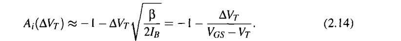 of the thresh- old voltage mismatch from Equation (2.9): This shows that the gain error depends