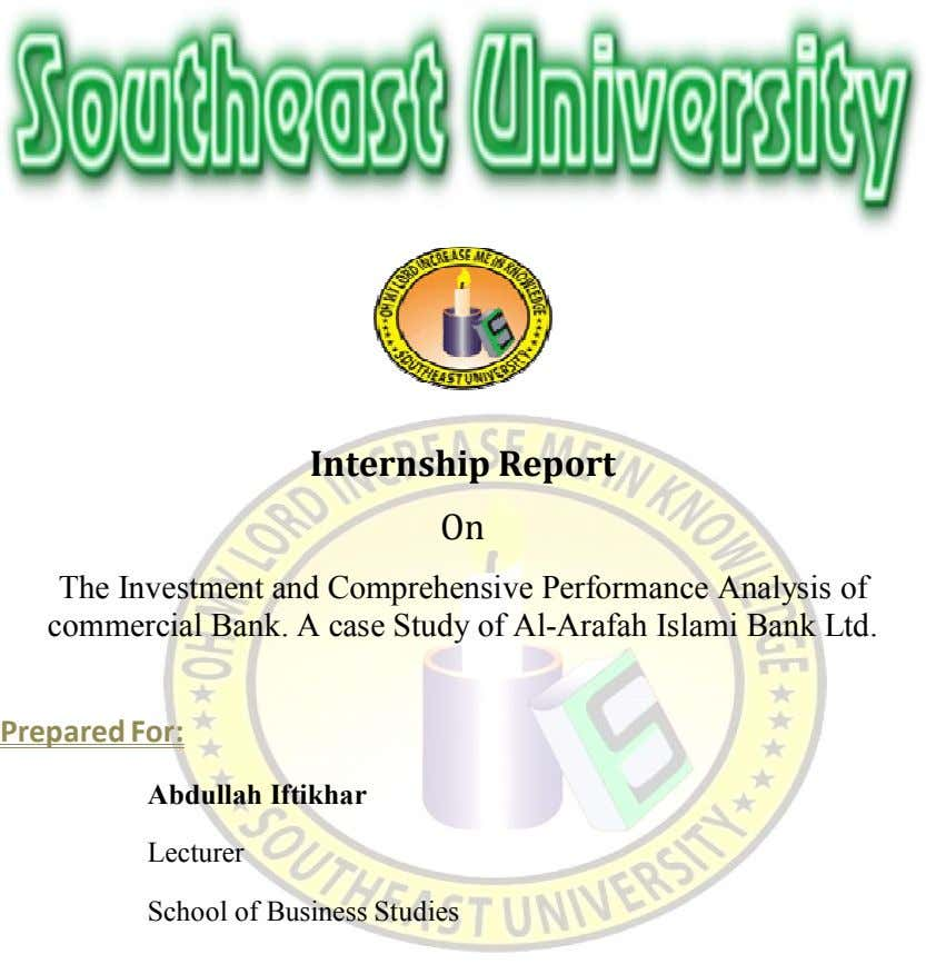 Internship Report On The Investment and Comprehensive Performance Analysis of commercial Bank. A case Study