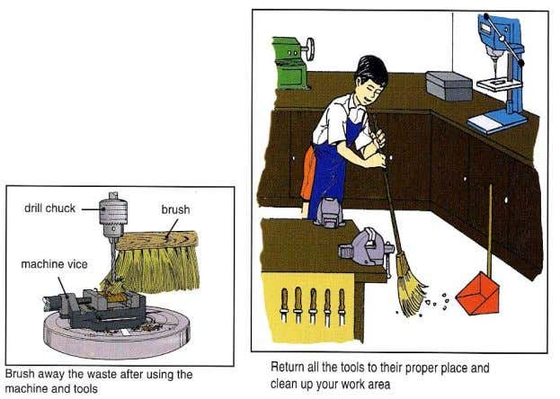 clean and tidy Return all tools to their proper place after use Report damaged or broken