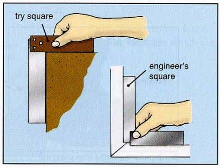 An engineer's square is made entirely from steel. The stock should always be placed against the