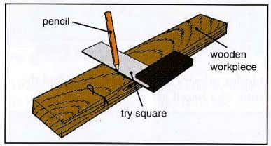 angles to the face side or edge on a wooden workpiece. A marking knife is used