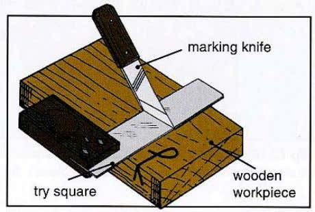 used with a try square to cut a line across the grain of a piece of