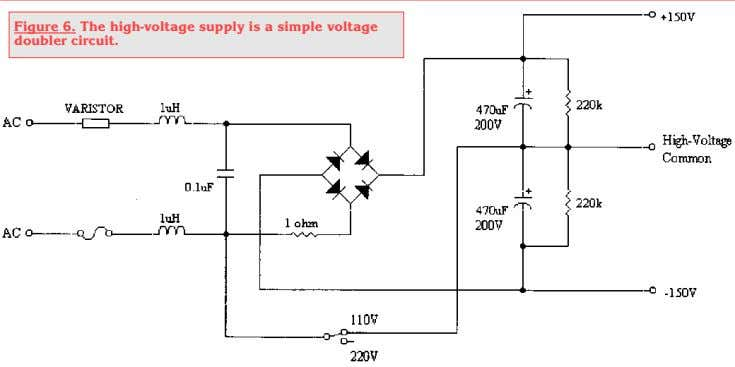 Figure 6. The high-voltage supply is a simple voltage doubler circuit.
