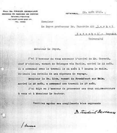 MODERN RADIOLOGY IN TURKEY: REFUGEES FROM NAZISM 1933-1945 Dessauer informs the Dean of Medical Faculty that