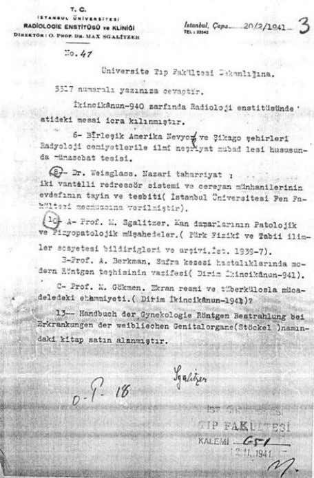 MODERN RADIOLOGY IN TURKEY: REFUGEES FROM NAZISM 1933-1945 A 12 November 1941 Note sent by Sgalitzer