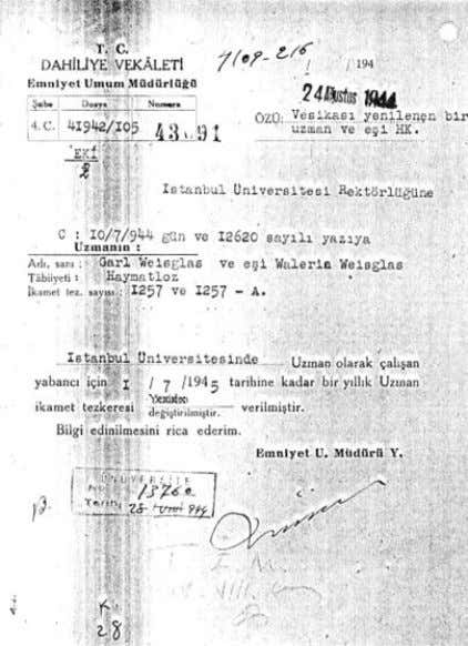 MODERN RADIOLOGY IN TURKEY: REFUGEES FROM NAZISM 1933-1945 Of fi cial document issued by the Department
