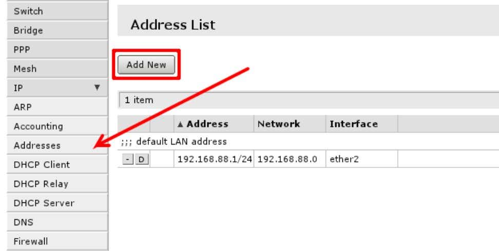 IP addresses of the router open 'IP -> Address' You will have one address here -