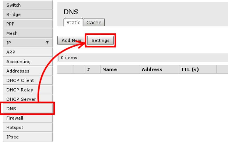 DNS ->Settings', first Open 'IP ->DNS': Then select Settings to set up DNS cacher on the