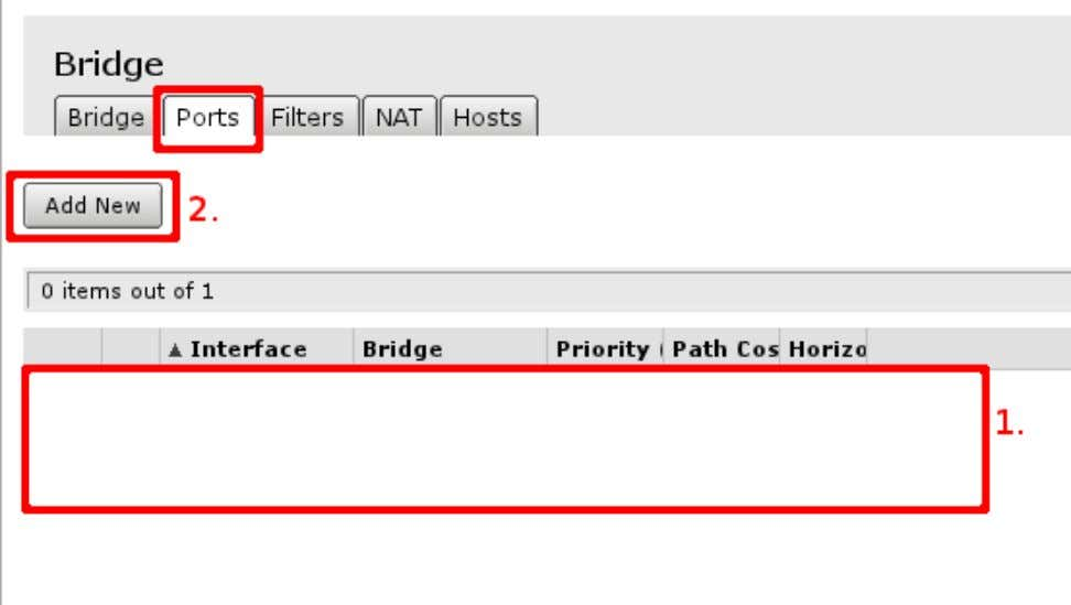 bridge interface are visible. If there are no ports added, choose Add New to add new