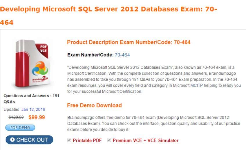 Guarantee All Exams 100% Pass Or Full Money Back! Exam Code: 70-464 Exam Name: Developing Microsoft