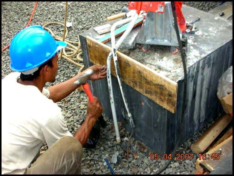 Picture 2. Formwork installation process Picture 3. Formwork installed 2. Mixing process of grout material