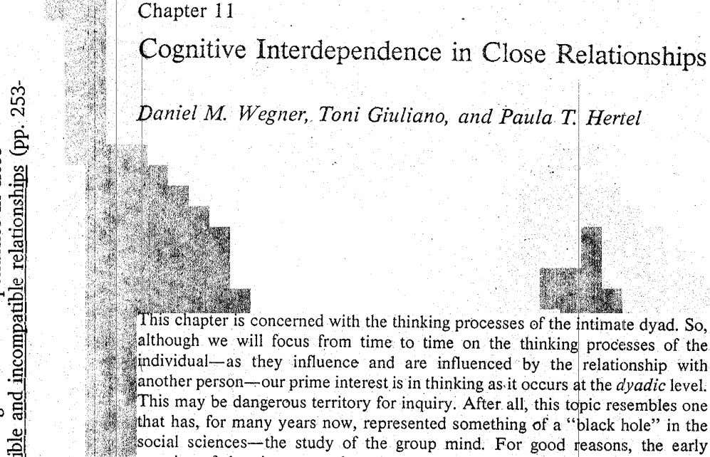 Interdependence in Close Relationships I i i M Ln ~ . M Wegner, Toni Giuliano, and