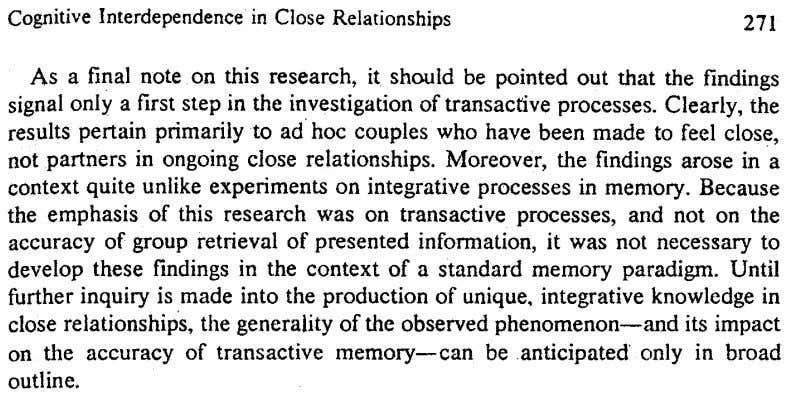 Cognitive Interdependencein Close Relationships 271 As a final note on this research, it should be pointed