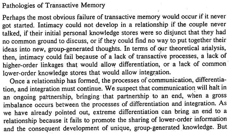 Pathologies of Transactive Memory Perhapsthe most obvious failure of transactive memory would occur if it never