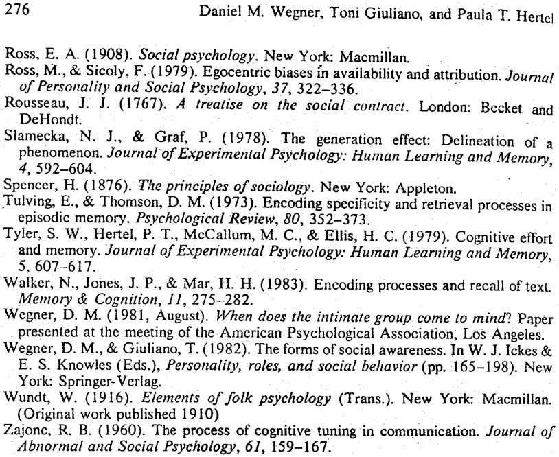 276 Daniel M. Wegner, Toni Giuliano. and PaulaT. Herte.l Ross, E. A. (1908). Social psychology. New