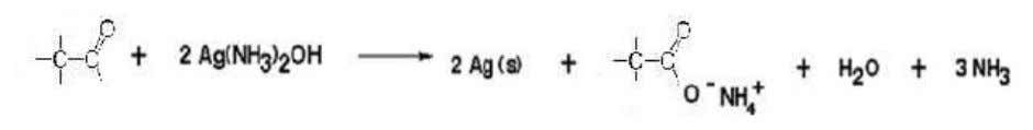 Figure 6. Reaction of an Aldehyde with Tollens' test. (5) Figure 7. Reaction of Acetaldehyde with