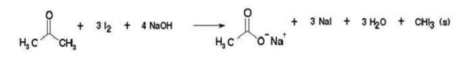 9. Reaction of Methyl Ketone with Iodine in basic medium/ Figure 10. Reaction of Acetone with