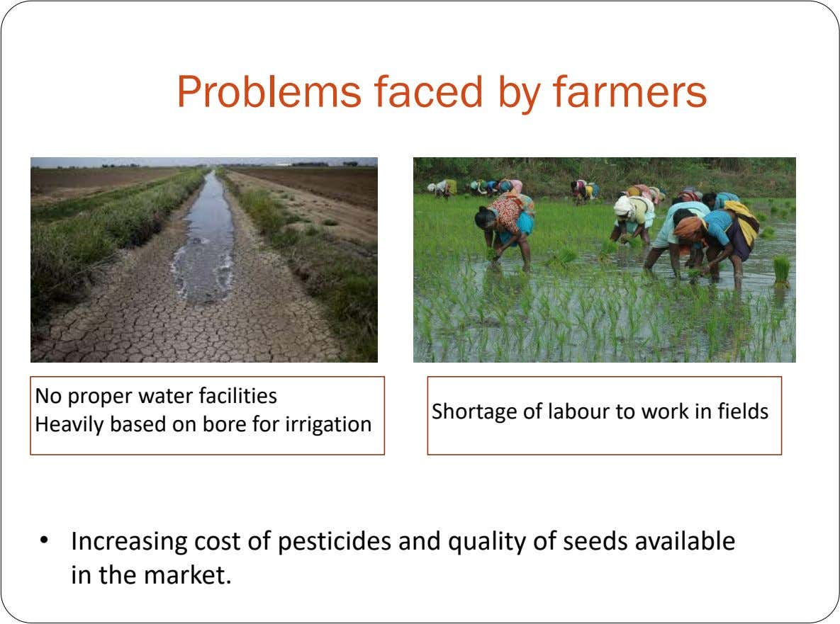 Problems faced by farmers No proper water facilities Shortage of labour to work in fields Heavily