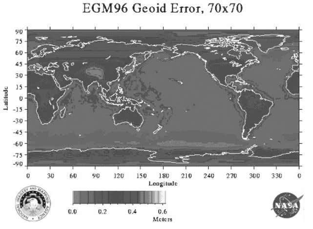 altimeter ranges from TOPEX/POSEIDON, ERS-1, and GEOSAT. Gambar 5 Kesalahan Geoid EGM96, dari [ NASA/GSFC, 2004