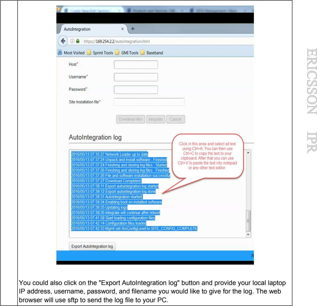 "ERICSSON IPR You could also click on the ""Export AutoIntegration log"" button and provide your"
