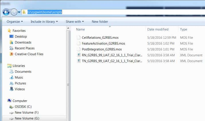 ERICSSON IPR Open Cygwin and go to the folder where the scripts are stored. 2 cd