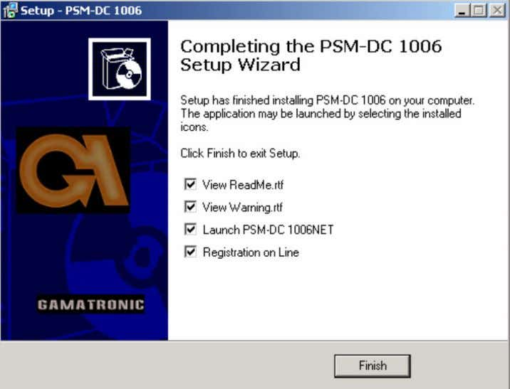 the Completing the Set-up Wizard screen is displayed. On this final panel of the Setup Wizard