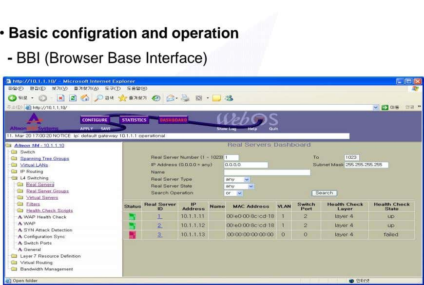 • Basic configration and operation - BBI (Browser Base Interface)