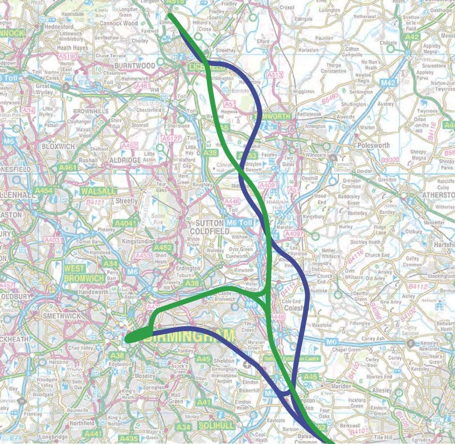 in Figure 3.6n) for the purposes of future consultation. Figure 3.6n West Midlands alternative routes, shown