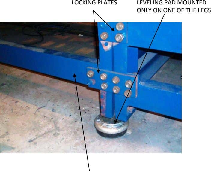 LOCKING PLATES LEVELING PAD MOUNTED ONLY ON ONE OF THE LEGS