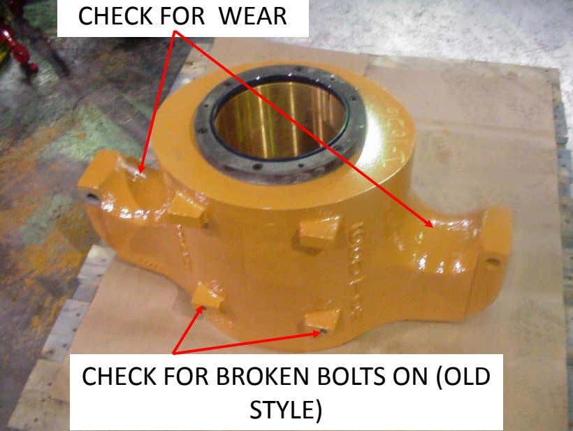 CHECK FOR WEAR CHECK FOR BROKEN BOLTS ON (OLD STYLE)